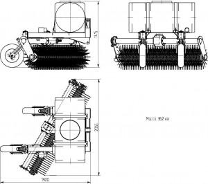 Габаритный чертеж дорожной щетки МКУ 1.4Т